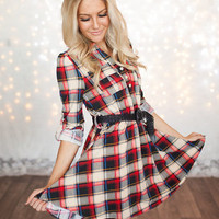 Thick Belted Flannel Tunic Red