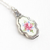 Antique Sterling Silver Guilloche Floral Art Deco Locket - Vintage 1920s 1930s Flower Enamel Filigree Etched Pendant Jewelry