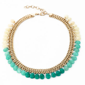 Turquoise Teardrops Statement Necklace