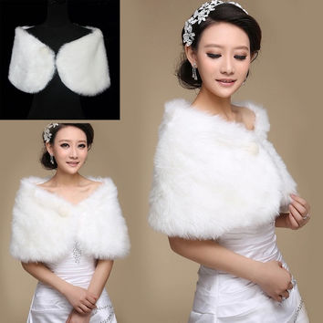 Elegant Faux Fur Wrap Shrug Bolero Shawl Cape Bridal Wedding Jacket  Ivory Plush = 1931539460