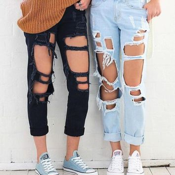 Stylish Rip Hole High Waist Denim Jeans 6-color
