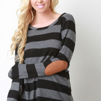 Back Button Detail Striped Sweater