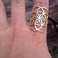 seed of life ring in solid brass (sacred geometry)