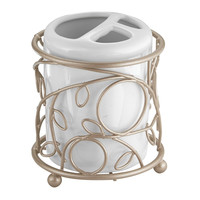 Twigz Bath Collection Toothbrush Holder, White/Pearl Champagne