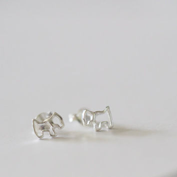 Dog Stud Earrings, Dog Ear Studs, Sterling Silver Dog Stud, Tiny Dog Stud, Animal Studs, Animal Earrings, Children's Earrings, Puppy Studs