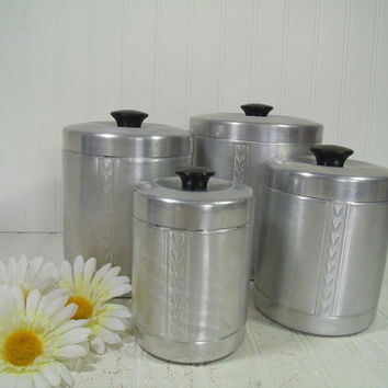 Mid Century Set of 4 Essex Spun Aluminum Canisters with Lids - Vintage Metal Kitchen Ware Graduated Storage Cans - Retro Décor Collectibles