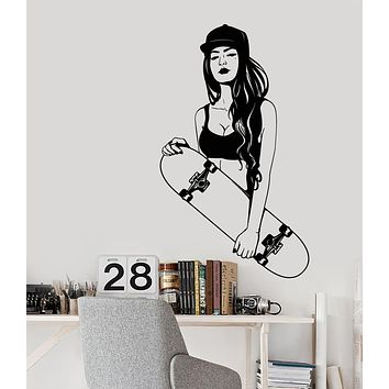 Vinyl Wall Decal Skateboard Skateboarder Teen Swag Style Girl Stickers (3256ig)