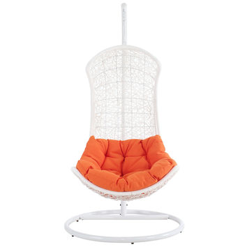 Endow Swing Outdoor Patio Lounge Chair in White Orange