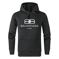 Balenciaga new street fashion men and women solid color hooded sweater black