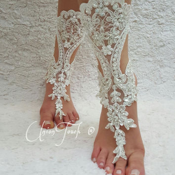 free ship bridal anklet, ivory lace sandals, wedding anklet, bellydance, gothic, Beach wedding barefoot sandals, bangle, anklet, bridal,