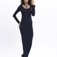 Long Solid Color Bodycon Maxi Dress