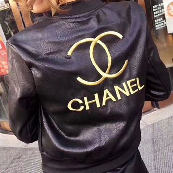 CHANEL Embroidery Leather Long Sleeve Cardigan Jacket Coat