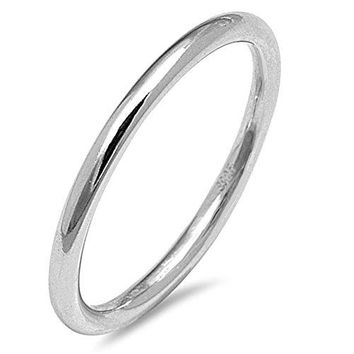 Thin Stackable Rounded Wedding Ring New 925 Sterling Silver Band Sizes 210
