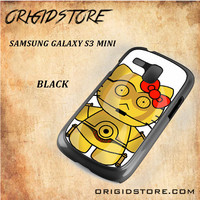 C3PO Hello Kitty Star Wars Black White Snap On 3D For Samsung Galaxy S3 Mini Case