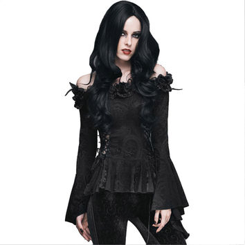 Gothic Women Lace Victorian Blouse Flare Sleeve Steampunk Floral Slim Shirts Casual Shirt Top