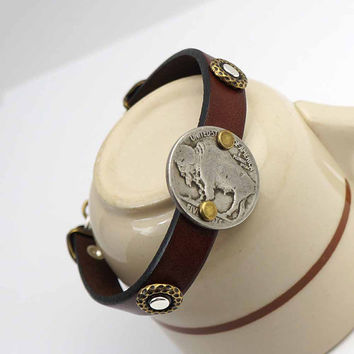 Brown leather cuff and coin bracelet, mixed metal silver copper, buffalo nickel jewelry, 7 3/4 inches