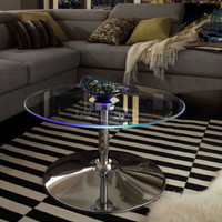Contemporary LED Accent Table Tempered Glass Top Home Furniture Chrome Finish