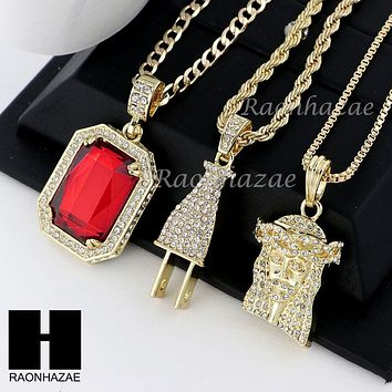"ICED OUT RUBY JESUS PLUG PENDANT 24"" 30"" ROPE BOX CUBAN CHAIN NECKLACE SET S08"