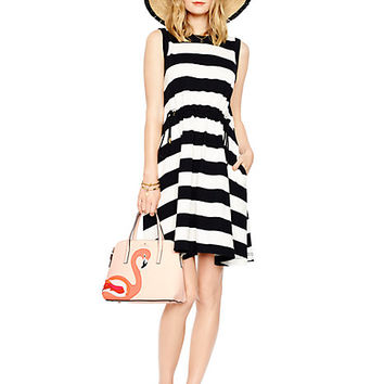 Kate Spade Yarn Dyed Stripe Dress Black/Cream