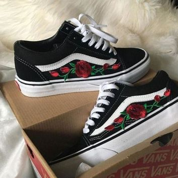 Vans Fashion Rose Embroidery Flats Shoes Sneakers Sport Shoes-1