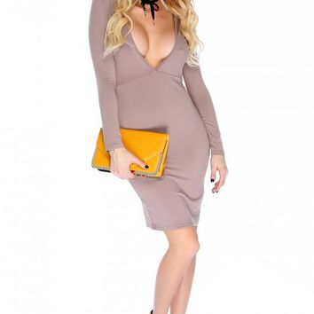 Sexy Camel Plunging V-cut Long Sleeve Open Back Body Con Party Dress