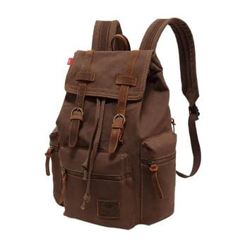 Canvas Backpac Vintage Canvas Leather Backpack Hiking Daypacks Computers Laptop