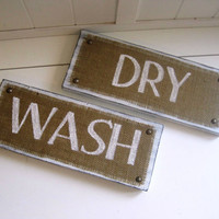 Wash Dry Burlap Signs / Set of Two Laundry Room Wood by TradeFare