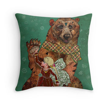 Magic Bearer - Bear Pillow, Animal Pillow, Bear Nursery, Kids Room Decor, Fairy Pillow, Fairytale Decor, Girls Room, Whimsical Art