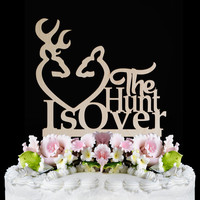 The Hunt is Over Wedding Cake Topper - Buck Doe Cake Decoration, funny cake topper wood, country wedding cake topper rustic,