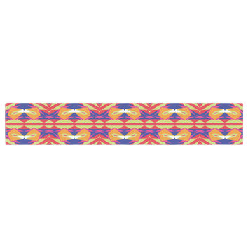 "Miranda Mol ""Ethnic Border"" Indigo Orange Table Runner"