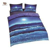 Cheap Moon And Ocean Bedding Cool 3D Print Home Textiles Soft Blue Bed Spread Twin Queen King