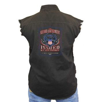 Men's Sleeveless Denim Shirt 2nd Amendment My Gun Permit: WHITE (XXL)