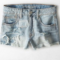 AEO Women's Hi-rise Destroyed Denim Shortie (Medium Authentic Destroy)