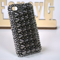 Luxury 3D Metalic Crystals Spikes Rivet Punk Stud Style Back Cover Case Fit For iphone 4 4s 5 5s Very Rare and Limited Bling and Very Unique