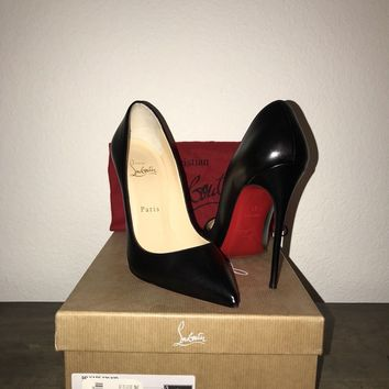 CHRISTIAN LOUBOUTIN SO KATE 120 BLACK KID LEATHER CLASSIC HEELS SIZE EU 37
