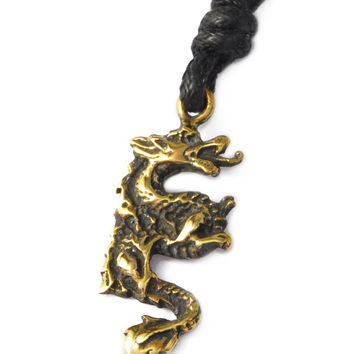Dragon Chinese Zodiac Handmade Brass Necklace Pendant Jewelry