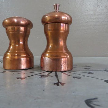 Copper Salt and Pepper Shaker Pepper Grinder Pepper Mill Mr Dudley Salt and Pepper Set made in the USA