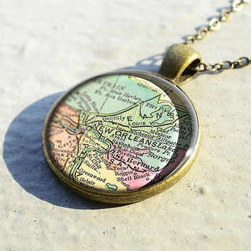 New Orleans map necklace pendant,map jewelry,map pendant,glass pendant,charm jewelry- M0386CP