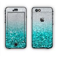 The Aqua Blue & Silver Glimmer Fade Apple iPhone 6 LifeProof Nuud Case Skin Set