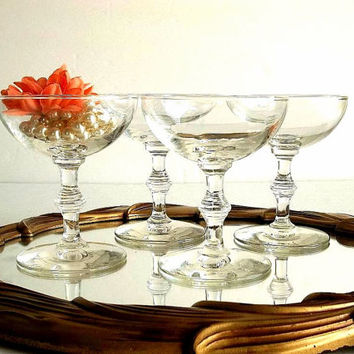 Vintage FOUR champagne glasses coupes saucers shallow bowl 1950's Mad Men Mid Century Libbey Georgian pattern Bamboo stem martini glasses