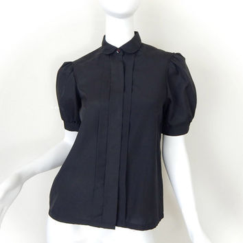 80s Vintage Black Puffed Sleeve Women's Blouse - Size 4 Extra Small -Pintucked Peter Pan Collar Goth Secretary Blouse