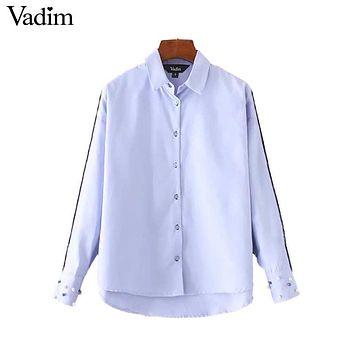 Women elegant pearls beading shirts long sleeve turn down collar blouse office lady work wear casual tops