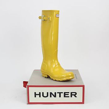 Hunter Women's Original Tall Gloss Rain Boots Yellow 6