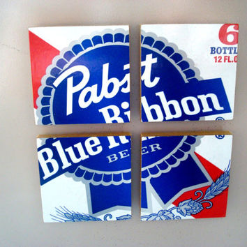 Pabst Blue Ribbon Beer Magnets From Recycled 6 Packs - Fridge Magnets