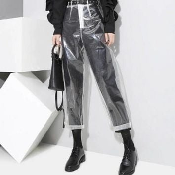 Women All-match Fashion Perspective Transparent High Waist Leisure Pants Show Thin Collocation Trousers