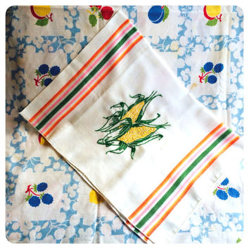 Embroidered Kitchen Towel Striped Feed Sack with Corn Tea Towel Dish Towel