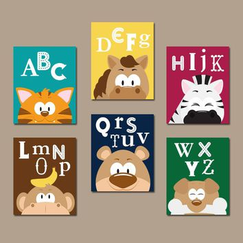 PLAYROOM Wall Art, Animal Head Pictures, ABC Alphabet Decor, Canvas or Prints, Playroom Pictures, Animal Head Decor, Set of 6 Playroom