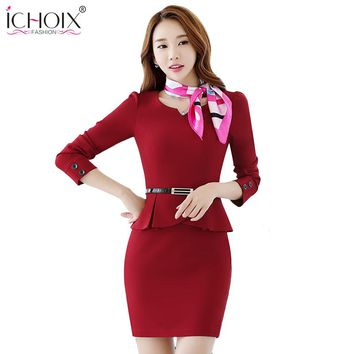 2018 Autumn Women OL Set Elegant Formal Office Fake 2 piece Ruffle Skirts Female Business Blazer Uniform Pencil Skirts Suits