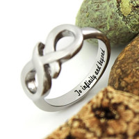 "Infinity Ring Promise Ring Couples Ring Infinity Symbol Ring""To Infinity and Beyond"" Engraved"