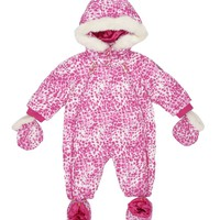 Dragonfruit Fiery Baby Fiery Leopard Print Down Snowsuit by Juicy Couture,